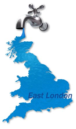 Map of East London Boiler Repair Services.
