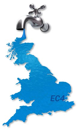 Map of EC4 Boiler Repair Services.