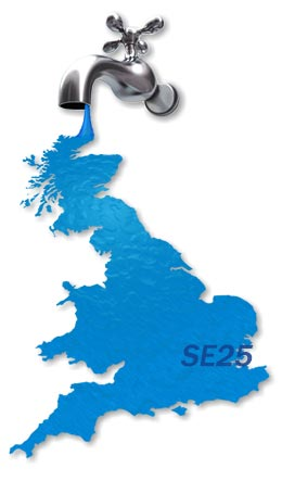 Map of SE25 Plumbing Services.