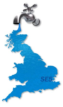 Map of SE5 Plumbing Services.