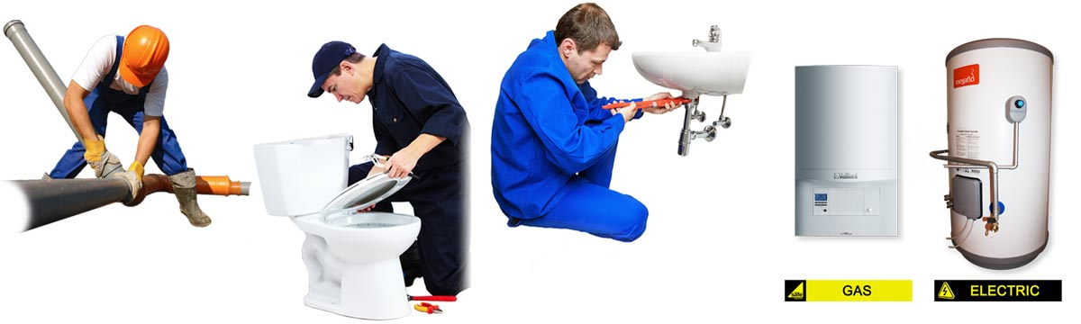 Plumbers repairing several plumbing jobs.